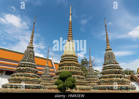 Chedi in Buddhist temple complex Wat Pho, Bangkok, Thailand - Stock Photo