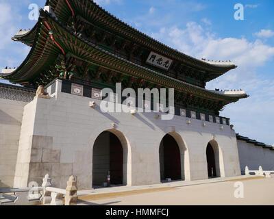 Gwanghwamun Gate is the main gate of Gyeongbokgung Palace in Seoul, South Korea. - Stock Photo