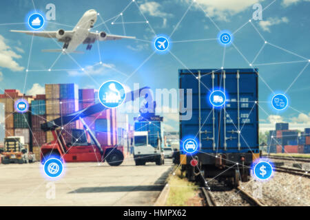 Global business connection technology interface global partner connection of Container Cargo freight train for logistic - Stock Photo