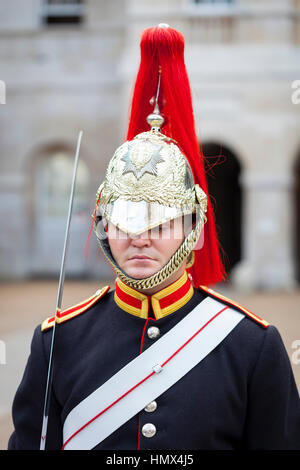 LONDON - SEPTEMBER 4 : Soldier of the Household Cavalry Mounted Regiment from the Blues and Royals Mounted Squadron - Stock Photo