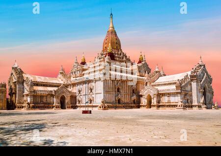 Ananda Temple on Bagan Plain, Beautifully colored evening sun. Myanmar, Burma. Ananda Temple. Travel concept. - Stock Photo