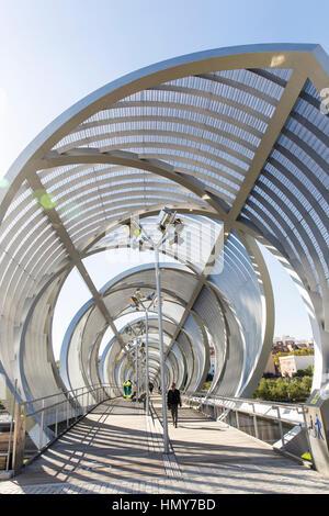 Perrault bridge in Madrid Rio, Madrid - Stock Photo