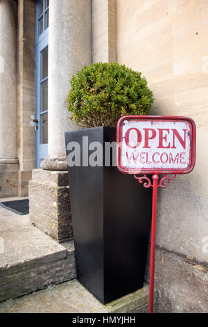 Welcome sign at The Painswick Hotel, near Stroud, Gloucestershire UK - Stock Photo