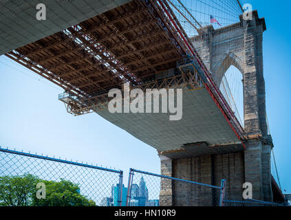 View from under the Brooklyn Bridge under construction - Stock Photo