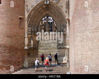 Main entry and steps, Cathédrale de Sainte-Cécile, Albi, France - Stock Photo