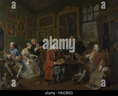 Marriage A-la-Mode 1, The Marriage Settlement - William Hogarth - Stock Photo