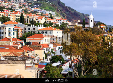 view over rooftops of zona velha old town, Funchal, Madeira - Stock Photo