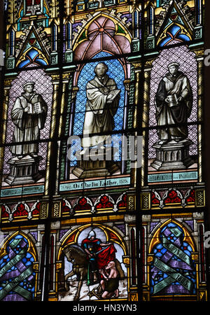 Stolberg, Germany. 2nd Jan, 2017. The St. Martin church has a large window of stained glass in the quire depicting - Stock Photo