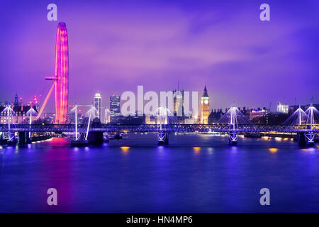 London at sunset: view from Waterloo Bridge. - Stock Photo
