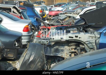 Picture of a smashed cars in a junkyard - Stock Photo