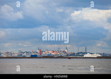 Old town Tallinn, view from Baltic sea - Stock Photo