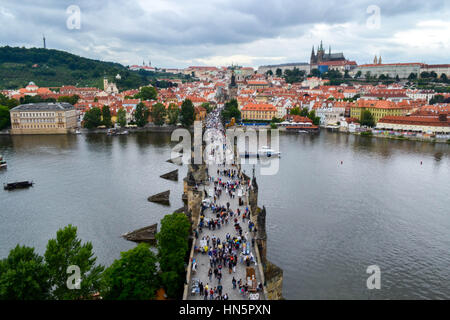 View from Old Town Tower of Charles Bridge (Karlův most) in Prague - Stock Photo
