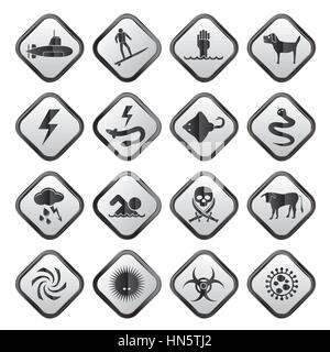 Warning Signs for dangers in sea, ocean, beach and rivers - vector icon set 2 - Stock Photo