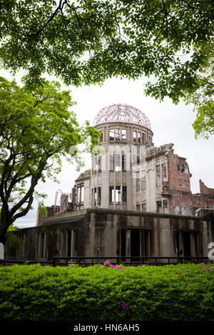 Hiroshima, Japan - May 2, 2012: The A-Bomb Dome was one of the only buildings left standing at the epicentre of - Stock Photo