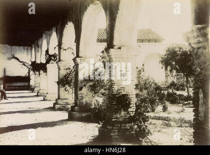 Antique c1910 photograph, columns at the Mission San Juan Capistrano was a Spanish mission in colonial Las Californias. - Stock Photo