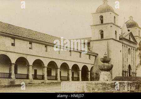 Antique c1910 photograph, the facade of the Santa Barbara Mission. Mission Santa Barbara is a Spanish mission founded - Stock Photo