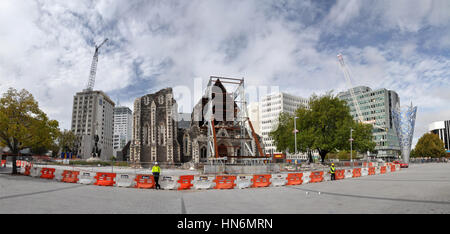 CHRISTCHURCH, NEW ZEALAND - March 10, 2012: Panoramic view of the ruins of the Anglican Cathedral on March 10, 2012 - Stock Photo