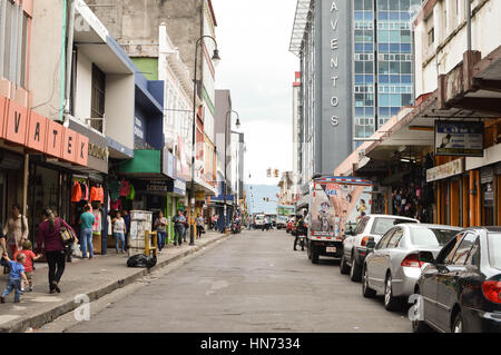 San Jose, Costa Rica - August 18, 2015: People are seen walking down the streets in downtown of San Jose, Costa - Stock Photo