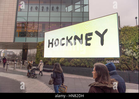 Westfield, London, UK. 9th Feb, 2017. On the day Tate Britain's David Hockney exhibition opens to the public, Tate - Stock Photo
