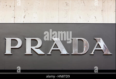 Prada sign on store at Königsallee. Prada S.p.A. is an Italian fashion label specializing in luxury goods headquartered - Stock Photo