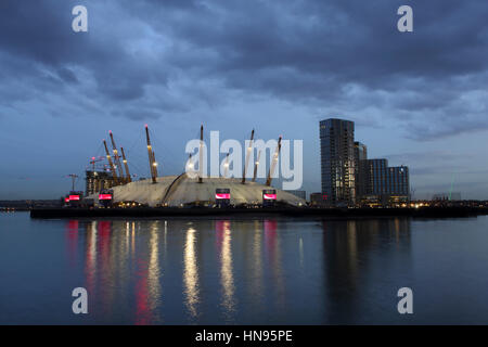 The O2 Millennium Dome on the Greenwich peninsula in South East London at 'Blue hour' - Stock Photo
