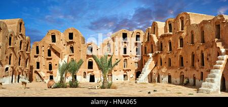 Ksar Ouled Soltane, fortified granary near Tataouine, Tunisia - Stock Photo