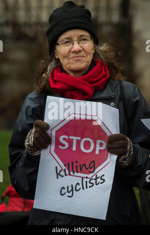 London, UK. 11th February 2017. Gathering in Trafalgar Square - Stop Killing Cyclists stage a die-in to remember - Stock Photo