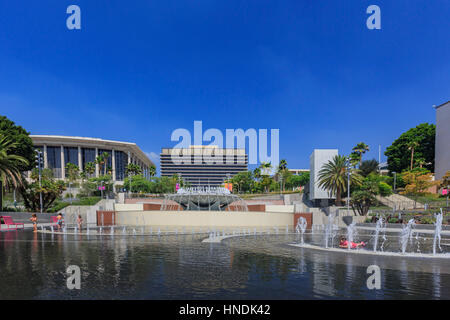 Los Angeles, AUG 23: Los Angeles Department of Water and Power with fountain on AUG 23, 2014 at Los Angeles, California - Stock Photo