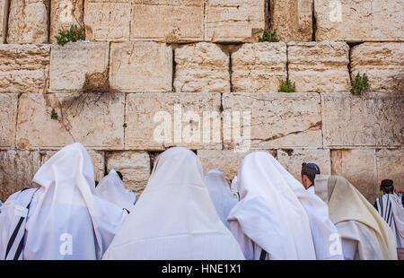 Wailing Wall, Western Wall, men, men's prayer area, Jewish Quarter, Old City, Jerusalem, Israel. - Stock Photo