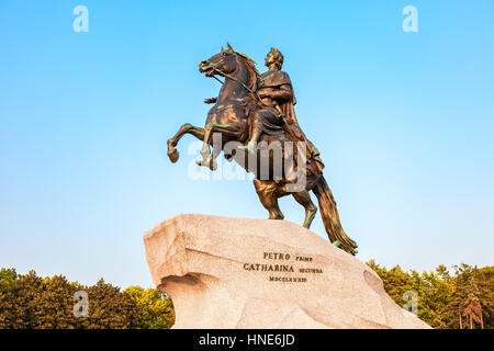 SAINT PETERSBURG, RUSSIA - JULY 28, 2016: The equestrian monument of Russian emperor Peter the Great, known as The - Stock Photo