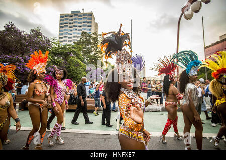 Sao Paulo, Brazil. 10th Feb, 2017. Revelers pose during street Carnival celebrations. Street carnival in Sao Paulo, - Stock Photo