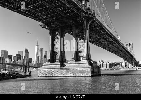 Black and white photo of Manhattan Bridge In New York City, America - Stock Photo