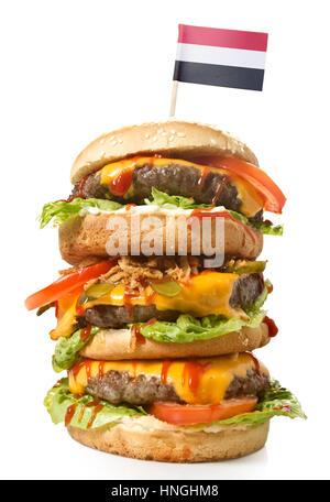 Fresh and tasty XXL hamburger with the flag of Yemen.(series) - Stock Photo