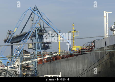 Lorient, France - December 16, 2016: Details of loading arms on shore/ship side on board the motor tanker ' Sea - Stock Photo