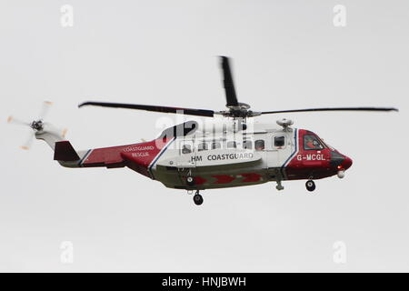G-MCGL, a Sikorsky S-92A operated by Bristow Helicopters for HM Coastguard, at Prestwick International Airport in - Stock Photo