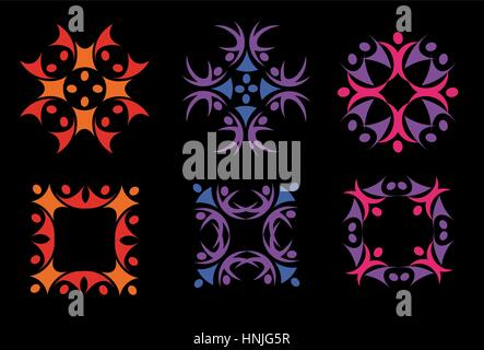 Isolated abstract colorful floral decorative elements logos set on black background vector illustration. - Stock Photo