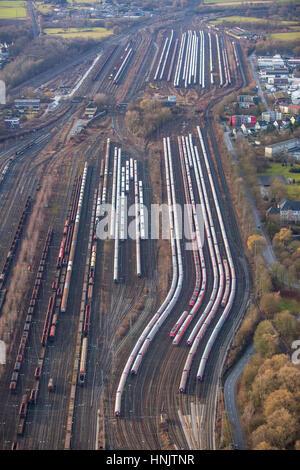 wagons, passenger train trailer depot Hammer freight station, freight station Hamm, Hamm, Ruhr Area, Nordrhein-Westfalen, - Stock Photo