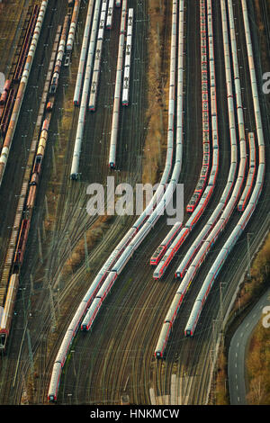 Train cemetery, trains, freight station Hamm, Hamm, Ruhr district, North Rhine-Westphalia, Germany - Stock Photo