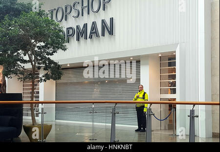 The scene outside Topshop in the Oracle shopping centre in Reading, Berkshire, where according to reports a 10-year - Stock Photo