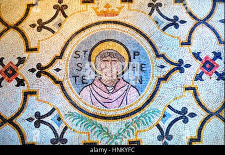 London, England, UK. Church of St Stephen Wabrook - mosaic of Saint Stephen in the entrance - Stock Photo