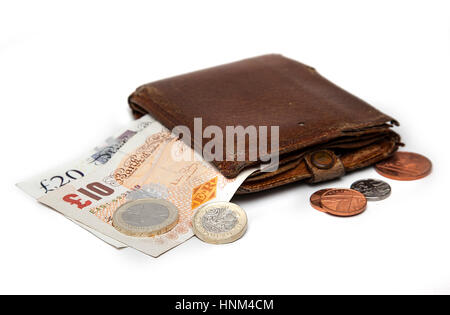 Wallet with british money, banknotes and coins - Stock Photo