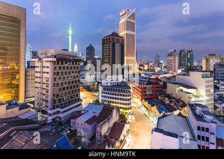 KUALA LUMPUR - An aerial view of the night on the business district of Kuala Lumpur, Malaysia capital city, an important - Stock Photo