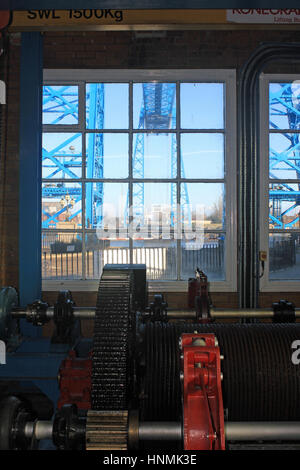 Cw 2018 Middlesbrough Transporter bridge from winding house 2  The transporter bridge over the river Tees in Middlesbrough - Stock Photo