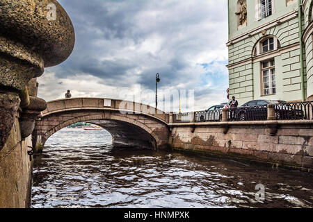 ST. PETERSBURG, RUSSIA - JULY 13, 2016: Palace embankment, view on Peter and Paul fortress, Neva river, Saint-Petersburg, - Stock Photo