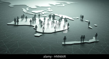 3D illustration of people on the map, representing the country's demography. - Stock Photo