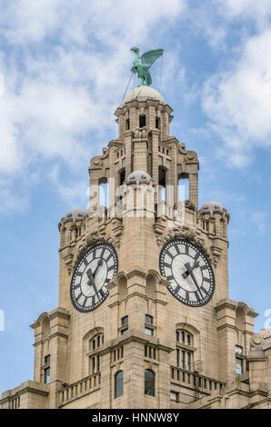 The Royal Liver Building is a Grade I listed building located in Liverpool, England. It is sited at the Pier Head - Stock Photo