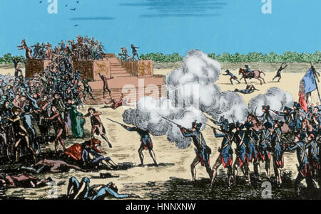 French Revolution (1789-1799). Champ de Mars Massacre (July 17, 1791). Anonymous. Engraving. Colored. - Stock Photo