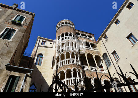 Beautiful renaissance spiral staircase in the center of Venice, one of the most famous tourist attraction in the - Stock Photo