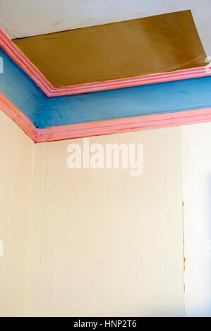 4 of 5 - Repared damage caused to ceiling, plaster cornice & wallpaper by water from a leaking roof. Search UIDIY1 - Stock Photo