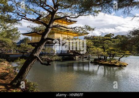 Kinkaku-ji, (金閣寺, Golden Pavilion) officially named Rokuon-ji, is a Zen Buddhist temple in Kyoto, Japan - Stock Photo